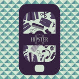 Hipster card mobile phone with clothing and accessories Stock Photography