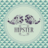 Hipster card mustache with clothing and accessories Royalty Free Stock Images