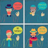Hipster cards in retro style Royalty Free Stock Photography