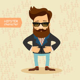 Hipster cartoon character. Vintage fashion style vector illustration Royalty Free Stock Photos