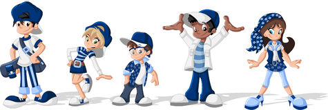 Hipster cartoon young people. Group of hipster cartoon young people. Cool teenagers Stock Image