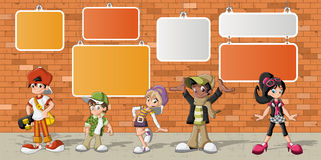 Hipster cartoon young people. Group of hipster cartoon young people in front of orange brick wall Royalty Free Stock Images