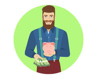 Hipster with cash money holding a piggy bank Stock Photos