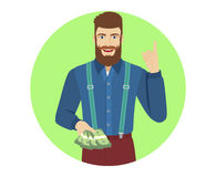 Hipster with cash money pointing up. Portrait of hipster character in a flat style. Vector illustration Stock Image