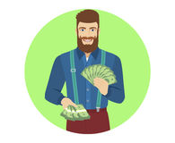 Hipster with cash money Royalty Free Stock Images