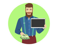 Hipster with cash money showing blank digital tablet PC Royalty Free Stock Photos