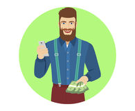 Hipster with cash money using mobile phone Royalty Free Stock Images
