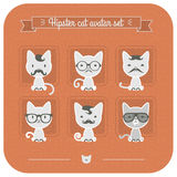 Hipster cat avatar set on pink Royalty Free Stock Images