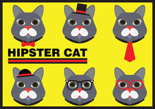 Hipster Cat Flat Cartoon Royalty-vrije Stock Foto's