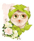 Hipster cat with glasses and  roses Stock Image