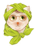 Hipster cat with glasses and  silk scarf Stock Image