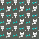 Hipster cat on gray, seamless background Royalty Free Stock Photos