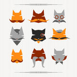 Hipster cat. Icons set: character cats. Flat Stock Photography
