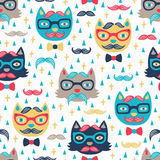 Hipster cat seamless background Stock Images
