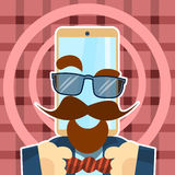 Hipster Cell Smart Phone Glasses, Mustache, Beard Retro Style Royalty Free Stock Photography