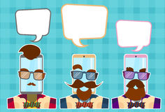 Hipster Cell Smart Phone Group With Chat Bubble Glasses, Mustache, Beard Retro Style Royalty Free Stock Photos