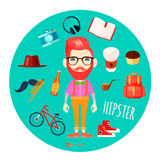 Hipster Character Accessories Flat Round Illustration Royalty Free Stock Photos