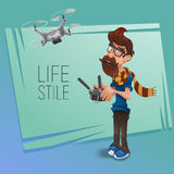 Hipster character with beard and scarf remote controlled quadcopter drone. Stock Images