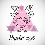 Hipster character design. Boy with horns painted line on a background of triangles labeled hipster style Stock Images