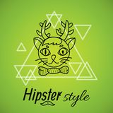 Hipster character design. Cat with horns painted line on a background of triangles labeled hipster style Stock Photo