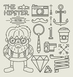 Hipster character design . Linear Royalty Free Stock Photo