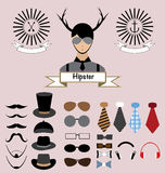 Hipster Character Elements Design Stock Photos
