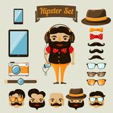 Hipster character elements for nerd boy Royalty Free Stock Photography