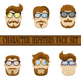 Hipster character face set. Hipster Character Kit - Hairstyles, Glasses, Mustaches, Beards. Stock Photography