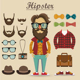 Hipster character and hipster elements, items, fashion, vector  Royalty Free Stock Images