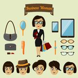 Hipster character pack for business woman Royalty Free Stock Photos