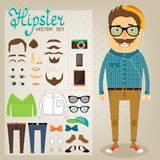 Hipster character pack for geek boy. With accessory clothing and facial elements vector illustration stock illustration