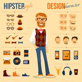Hipster Character Pack. Male hipster character pack with geek fashion trendy elements isolated vector illustration Royalty Free Stock Photo