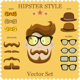 Hipster Character Vector Illustration with Hipster Elements and Icons. Vintage Set for your design. Royalty Free Stock Photos