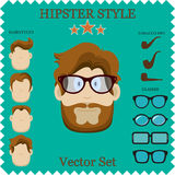 Hipster Character Vector Illustration with Hipster Elements and Icons. Vintage Set for your design. Stock Photo
