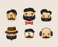 Hipster characters pack with facial emotions. And retro hair styles isolated vector illustration Stock Image