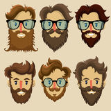 Hipster characters, subculture, retro hairstyle, bearded faces Stock Photography