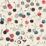 Hipster Cherry Pattern Royaltyfria Foton