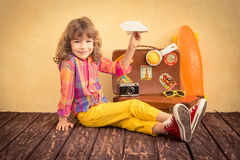 Hipster child with skateboard Stock Photo