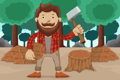 Hipster chopping wood Royalty Free Stock Image
