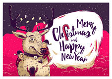 Hipster Christmas card or invitation flyer with Deer and elves Stock Photography