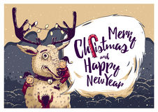 Hipster Christmas card or invitation flyer with Deer and elves Royalty Free Stock Photography
