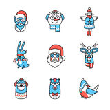 Hipster Christmas Characters Stock Images