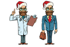 Hipster Christmas doctor and businessman Royalty Free Stock Images