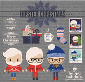 Hipster Christmas element set. Stock Photography