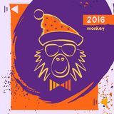 Hipster christmas red fire monkey. Hand drawn. Happy new year illustration chinese zodiac 2016. Vector card for the good winter mood. Young prankster party Stock Images