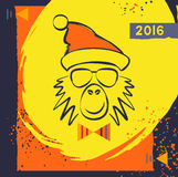 Hipster christmas red fire monkey. Hand drawn happy new year illustration chinese zodiac 2016. Vector card for the good winter mood. Young prankster party Royalty Free Stock Photos