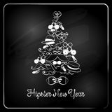 Hipster Christmas Tree on Chalkboard Background. Stock Photography