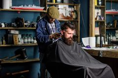 Hipster client getting haircut. Barber with hair clipper works on haircut of bearded guy barbershop background. Barber. With clipper trimming hair on nape of royalty free stock photos