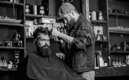 Hipster client getting haircut. Barber with hair clipper works on hairstyle for bearded man barbershop background. Hipster client getting haircut. Barber with royalty free stock image
