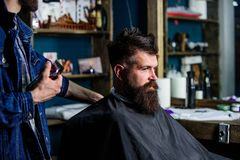 Hipster client getting haircut. Barber with hair clipper works on hairstyle for bearded man barbershop background. Hipster client getting haircut. Barber with stock images